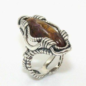 Carolyn Pollack Sterling Fossil Ring5.25